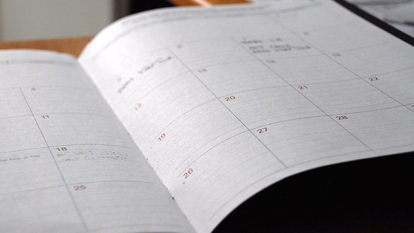 Calendar open on a table