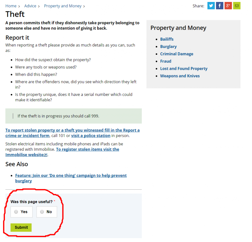 "Theft topic page highlighting the ""Was this page useful"" box"