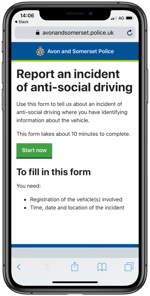 iPhone screenshot of the 'report an incident of anti-social driving' form created by Police Digital Services