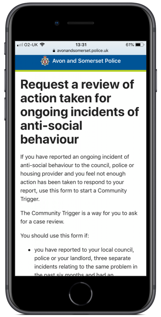 Community trigger form shown on an iPhone
