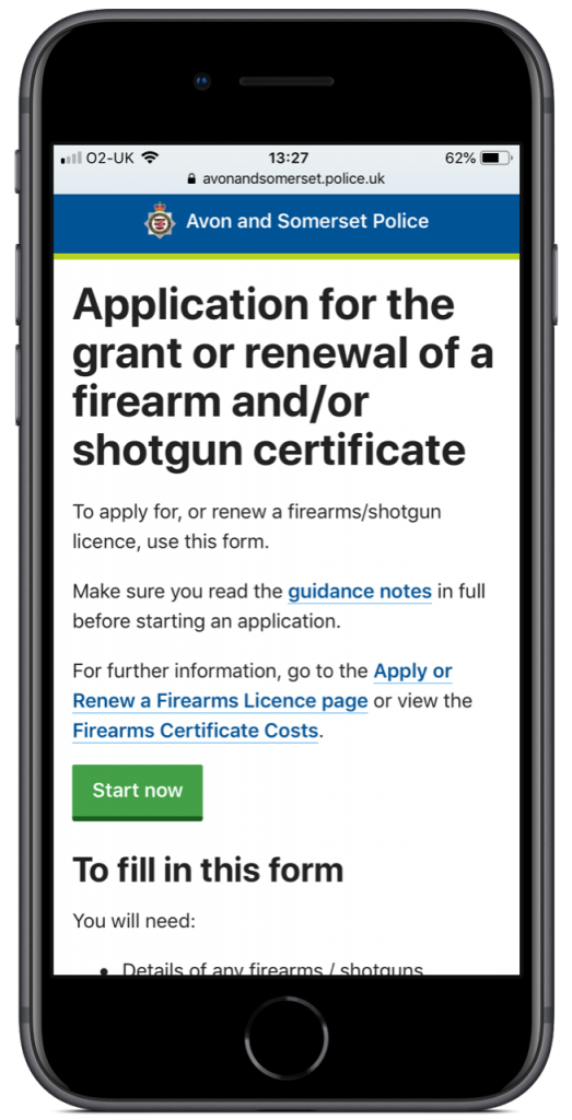Apply for a grant or renewal of a firearm and/or shotgun certificate form on an iPhone