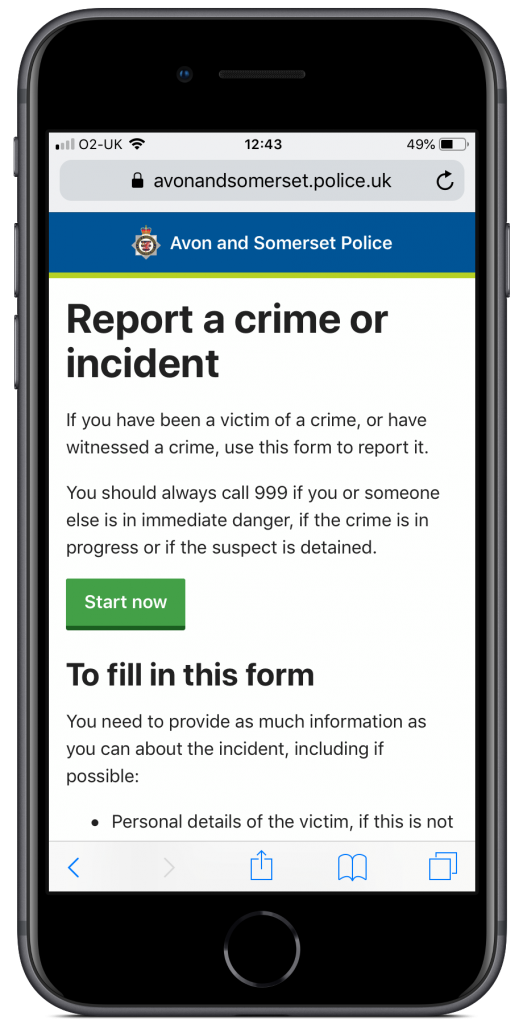 Screenshot of the 'report a crime' form on an iPhone device