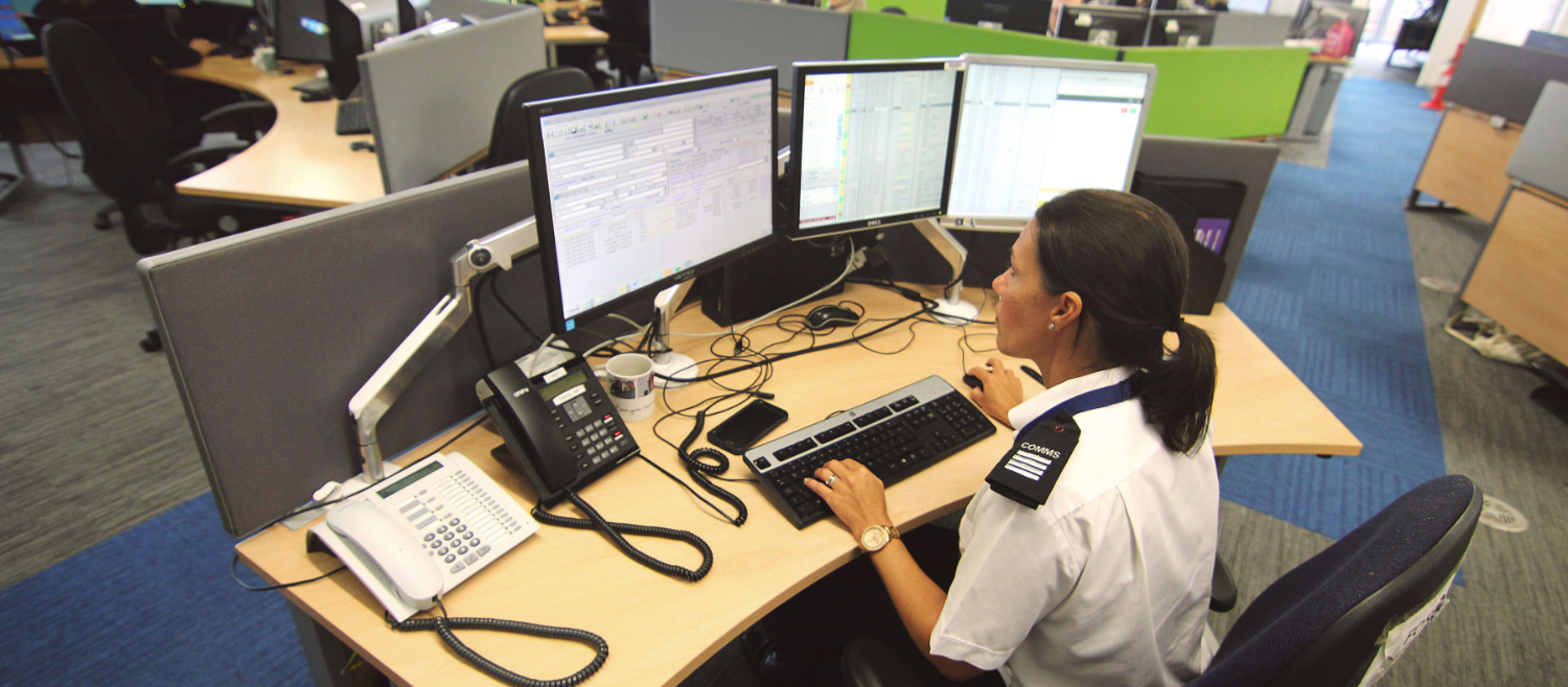 Call Centre staff in the control room of Avon and Somerset Police