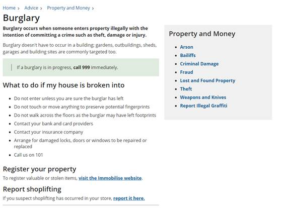 Screenshot of the old burglary page