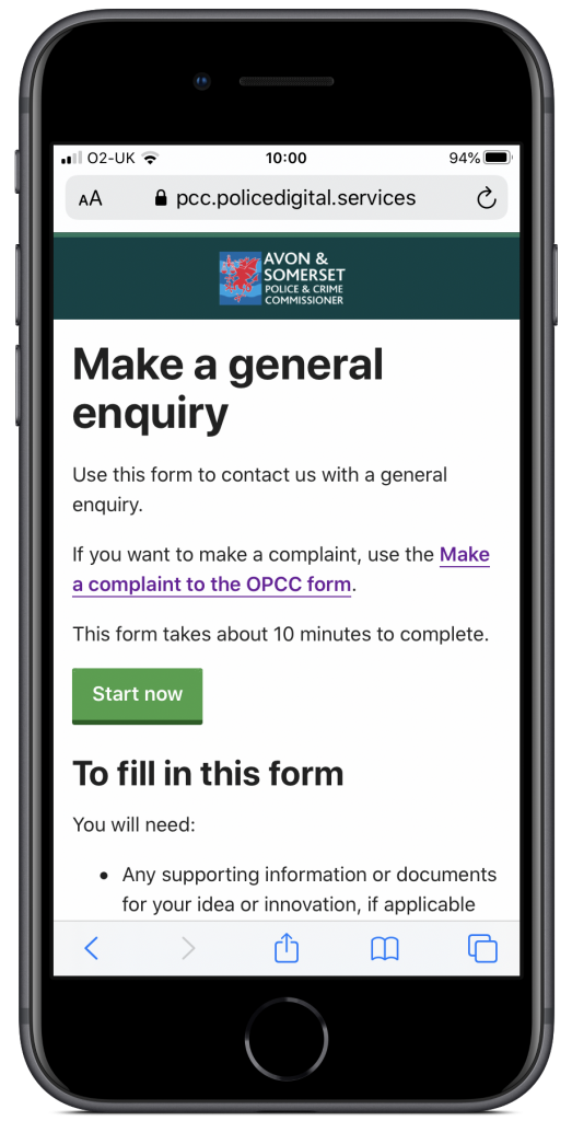 OPCC general enquiry form on a mobile